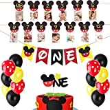 HEETON Mickey Mouse First Birthday Set Mickey 1St Birthday Cake Topper Balloons Party Decorations High Chair Banner Mickey Mouse Baby Boy Photo Booth Props
