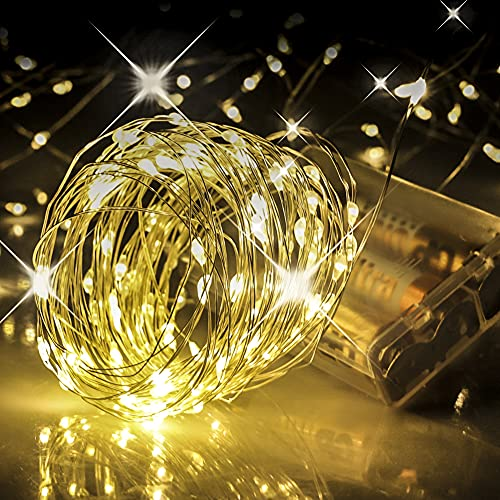 Fairy Lights Battery Operated, 33 Ft Battery Powered String Light, 100 LED Warm White Battery Fairy Light for Bedroom Christmas Halloween Party Wedding