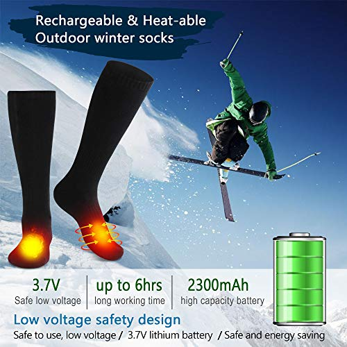 Men's Novelty Heated Socks with Battery Pack Cotton Camping Foot Warmer