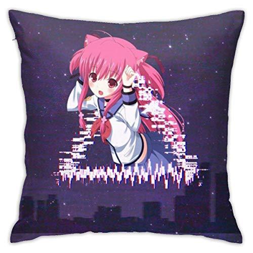 asdew987 Kissenbezug Anime Yui (Angel Beats!) Vhs Glitch Art 45,7 x 45,7 cm Kissenbezug Baumwolle Leinen