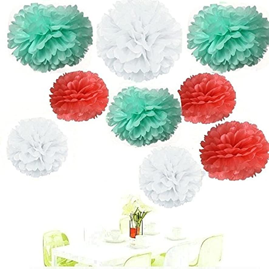 Since ? Pack of 18 Mixed Coral Mint White Tissue Paper Pom Poms Flowers Ball Wedding Birthday Anniversary Party Decorative Flower