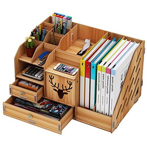 Organizador de escritorio de madera, organizador de escritorio, multifuncional, multicapa, estantes de almacenamiento, archivos, libros, papelería y documentos (tamaño: 40 x 26 x 24 cm, color: nogal)