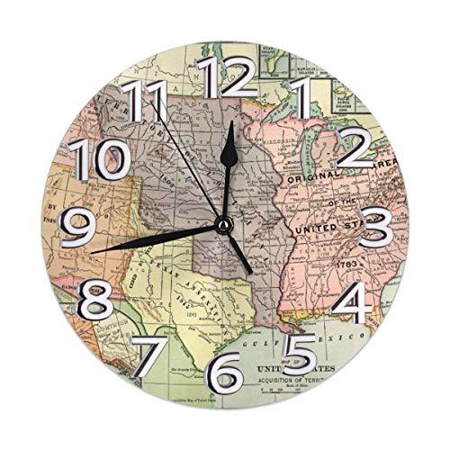 Reloj de pared redondo con mapa de Estados Unidos, silencioso, fácil de leer, funciona con pilas, para decoración del hogar, sala de estar, cocina, dormitorio, oficina, escuela
