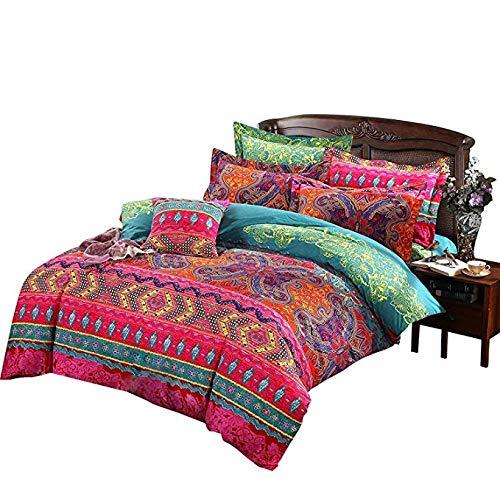 enzhe 4-delige set 100% katoen nationaal beddengoed super grote quilt 220x240 cm Marokkaanse bohemien geborsteld katoen quilt set kleurrijke blauwe roze vellen met 2 kussenslopen 180*220CM Rood