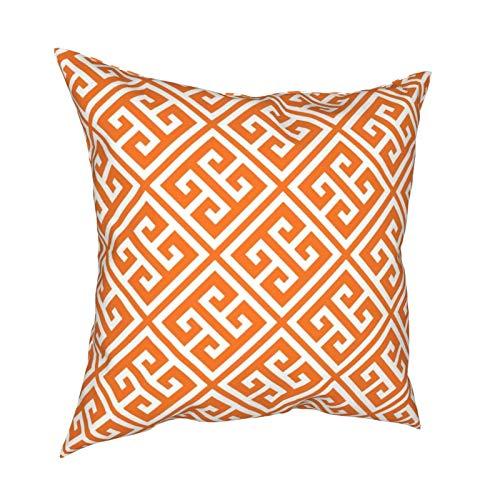 Feamo Funda de cojín de mandarina naranja griega clave cuadrada decoración del hogar para sala de estar, dormitorio, sofá silla, 45,7 x 45,7 cm