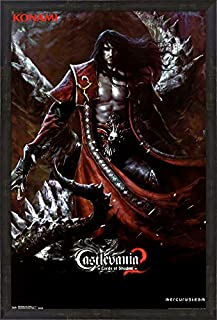 Castlevania Los 2 - Dracula Framed Art Print Wall Picture, Espresso Brown Frame, 24 x 36 inches