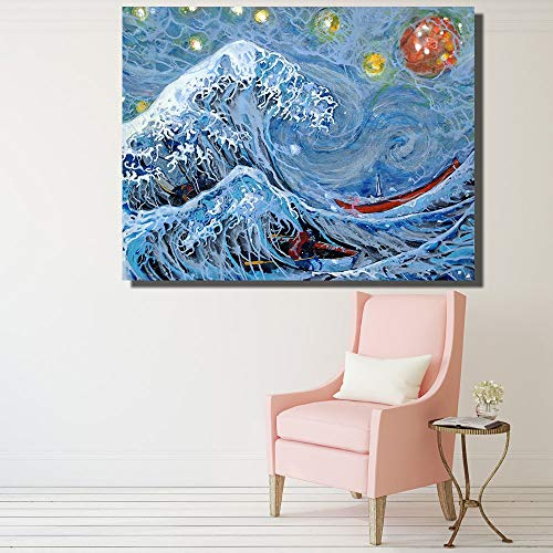 KWzEQ Canvas Painting Big wave onpictures poster anddecorative artfor living room30x40cmFrameless painting