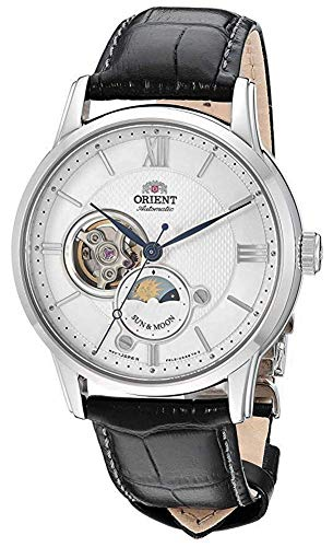 "Orient Dress ""Sun & Moon Open Heart"" Japanese Automatic/Hand Winding Stainless Steel Watch (Model: RA-AS0005S10A)"