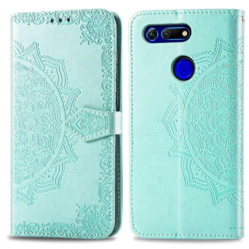 Bear Village Hülle für Huawei Honor View 20, PU Lederhülle Handyhülle für Huawei Honor View 20, Brieftasche Kratzfestes Magnet Handytasche mit Kartenfach, Grün