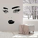 WERWN Cara Femenina Etiqueta de la Pared pestañas Labios cosméticos Hermosa Dama Vinilo Etiqueta de la Ventana Sala de Maquillaje salón de Belleza decoración de Interiores