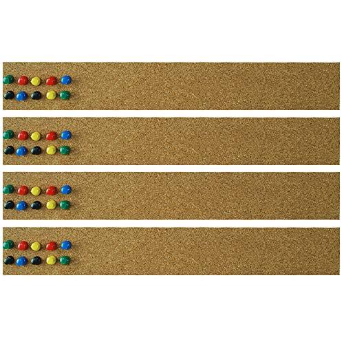 Lockways Cork Bulletin Bar Strip Set 4 Pieces, 2 x 15 Inch, Frameless Cork Board Memo Strip for Office, School, Home Holiday Décor