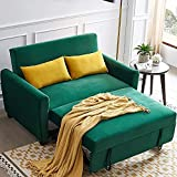 UNIROI Seat Teal Soft Velvet Sleeper, Compact Couch Sofa Bed with 2 Lumbar Pillow for Living Room Apartment