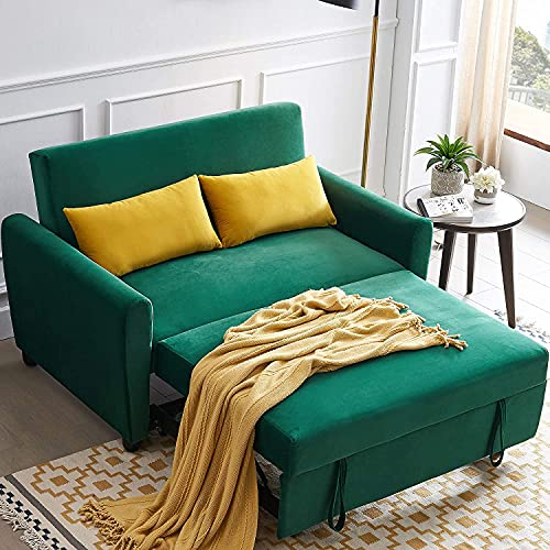 UNIROI Seat Teal Soft Velvet Sleeper, Compact Couch Sofa Bed with 2...