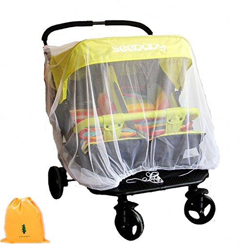 Mosquito Net for Baby Double Strollers,Carriers, Cradles, Car Seats,Universal Size, Insect Bug Netting Buggy Cover,Twin/Tandem Stroller Cover, White, Weather Protection