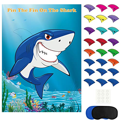 FEPITO Pin The Fin beim Shark Game mit 24 Stück Flossen für Hai Geburtstag Party Dekoration, Party Vorräte