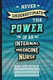 Never Underestimate Internal Medicine Nurse: Graph Paper Notebook (6x9 100 Pages) Gift for Colleagues, Friends and Family
