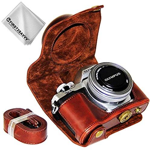 First2savvv marrone scuro Qualità premium Custodia Fondina in pelle sintetica per macchine fotografiche reflex compatibile con Olympus OM-D E-M10 Mark III con 14-42 EZ Zoom Lens XJD-EM10 III-10G11