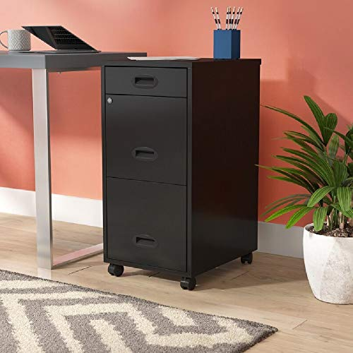 Heavy Duty Rolling File Cabinet with 3 Drawers and Lock, Hanging File Rolling Cart, Locking Two Drawers, Metal Storage File Organizer with Wheels, Black