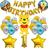 26Pcs Winnie Party Supplies - simyron Themed Party Decorations, Winnie The Pooh Birthday Decoration Include Birthday Banner Balloons Cake Topper for Winnie and Kids Decoration