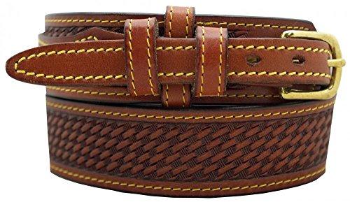 Men's Ranger Belt 1 1/2' English Bridle Leather Basketweave Embossed, Chestnut, Size 42