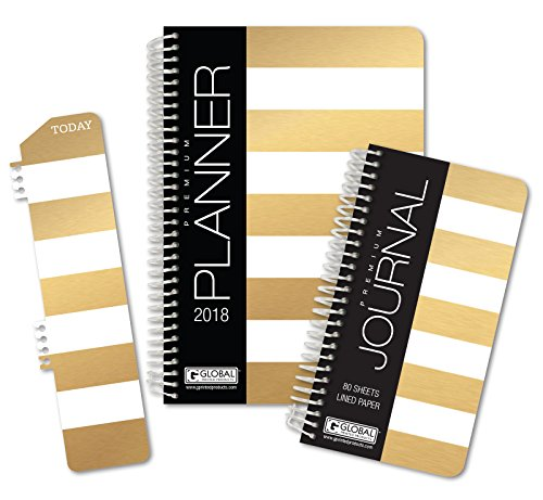 Best Planner 2018 Agenda for Productivity, Durability and Style. 5x8 Daily Planner/Weekly Planner/Monthly Planner/Yearly Agenda. HARDCOVER Organizer with Bookmark and Journal (Gold Stripe)