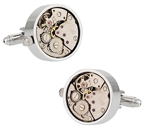 Cuff-Daddy Working Silver Watch Movement Steampunk Cufflinks with Glass Cover Gift Idea for Him Sleeve Clock Cuff Links Special Occasions Cufflinks Travel Box in with Jewelry Presentation Box
