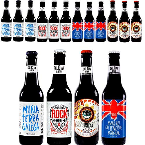 Pack 12 cervezas artesanas Galician Brew. Incluye Rock In Río Tea, Medalla de Bronce Barcelona Beer Challenge 2018