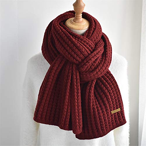 ZPFDM Thick Wool Knitted Scarf, Warm Solid Color Scarf, Very Suitable for Walking, Shopping, Sports, at Home or Daily Use, Long 190cm/74.8in
