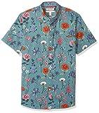 Amazon Brand - Goodthreads Men's Standard-Fit Short-Sleeve Printed Poplin Shirt, Wallpaper Floral, Large