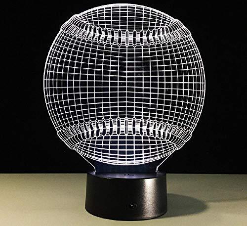 Lámpara de ilusión 3D Control remoto Luz de noche Béisbol 3D Lámpara de noche Touch Led Visión 3D Lámpara de regalo creativo LED Luz de noche Regalo de día de los niños
