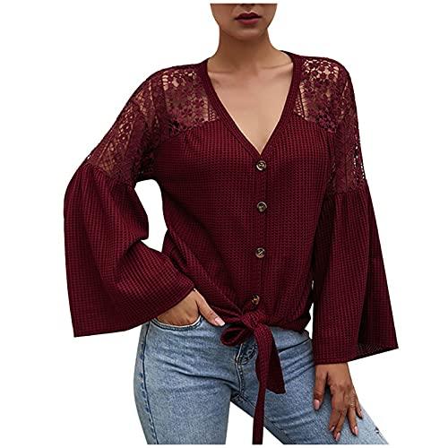 URIBAKY - Camicia casual da donna, con scollo a V, in pizzo, a maniche lunghe, chic, Vino, XL