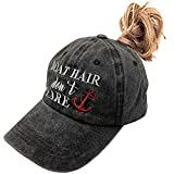 Women's Ponytail Baseball Cap Boat Hair Don't Care Embroidered Vintage Dad Hat