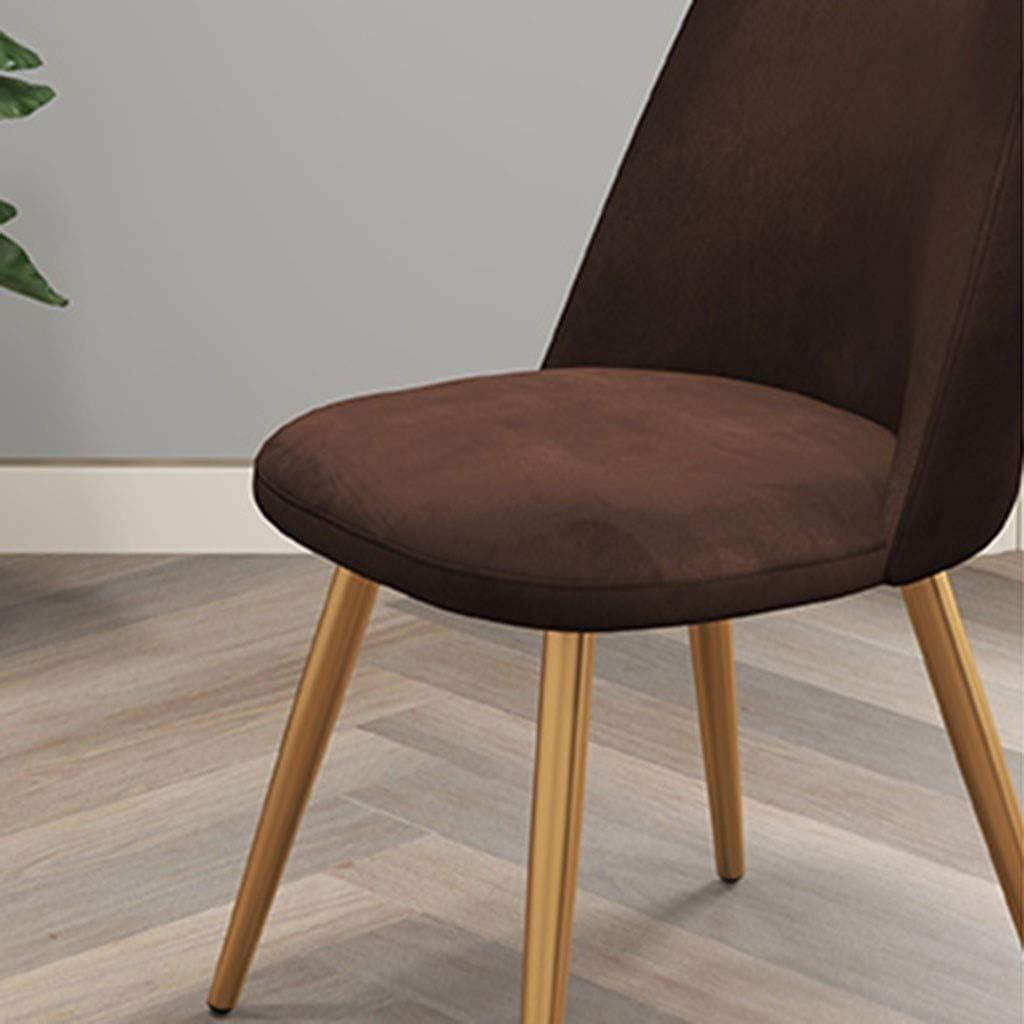 LSRRYD Salle à manger Accent Living Chaise en velours club Invité de loisirs Salon Chambre Chaise rembourrée avec Pieds en métal (Color : Brown+black legs) Purple+black Legs