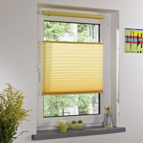 Liedeco® Plissee freihängend mit Klemmträger / 100 x 130 cm citrus (gelb) (Breite x Höhe) / lichtdurchlässig blickdicht und stufenlos verstellbar / viele Farben und Größen / Breiten 43 - 100 cm / variable und einfache Montage möglich