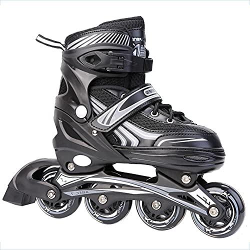 XIUWOUG Herren Damen verstellbare Inliner Inlineskates,ABEC-7 Chrome Kugellager,Größe 30-42 Unisex Fitness Skates für Erwachsene Rädern Rollschuhe für Jungen Mädchen Anfänger,Schwarz,L (39~42)