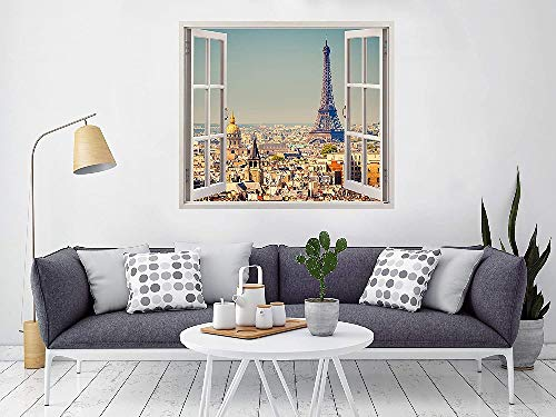Pegatinas 3D Vinilo Ventana Varias Medidas, 150 x 130cm, Adhesivo Incluido, Paris, Torre Eiffel Vista panoramica