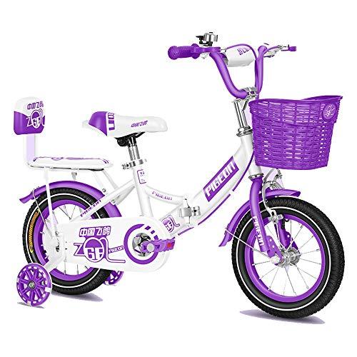 FUFU Marco de Acero de la Bici de la Bicicleta de los niños del Cabrito pequeña Princesa Style 12-14 Pulgadas de la Rueda de Formación con (Color : Purple, Size : 14in)