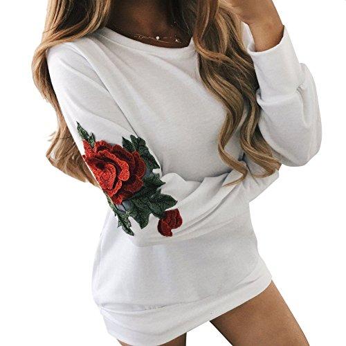 MISSMAO Damen Hoodie mit Rosenmuster Lässige Druck Mantel Tops Pullover Langarm Sweatshirt Weiß XL