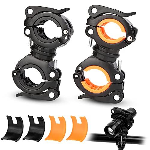 Sporgo Fahrrad Taschenlampe Halterung,2 Stück Fahrradlicht Halterung,360°Verstellbare Lichthalterung Radfahren Montage Halter ,Universal Fahrrad Lampenhalterung für Mountainbike Draussen Reiten