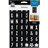 FolkArt Sans Serif Font Plastic Peel & Stick Stencil, 5.8' x 8.25'