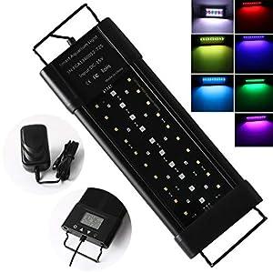 Aquarium-LED-Beleuchtung-Lampe-LED-Aquarium-Light-30cm-18W-Aquariumleuchte-mit-Zeitmessgert-und-Einstellbare-Halterung-fr-30-50cm-Full-Spectrum-Leuchte-fr-Swasser-Aquarium-Pflanze-Marine