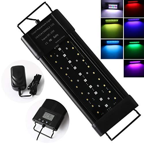 Aquarium LED Beleuchtung Lampe LED Aquarium Light 30cm 18W Aquariumleuchte mit Zeitmessgerät und Einstellbare Halterung für 30-50cm, Full Spectrum Leuchte für Süßwasser, Aquarium, Pflanze, Marine