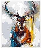HNZYF DIY Pintura al óleo Digital Sika Ciervo Burro Tigre Cabeza Pintada a Mano Color Pintura Creativa Adecuada para Dormitorio Sala de Estar decoración Pintura 40x50cm sin Marco-Sika Deer