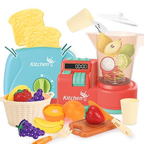 REMOKING Spielzeug Kinderküche Zubehör, Küchenspielzeug für Kinder Rollenspiele, Haushaltsgeräte Spielzeug Set mit Toaster, Entsafter und Obst, Spielzeug ab 3 Jahre Junge Mädchen