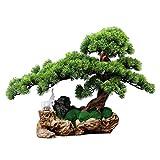 Planta artificial con maceta Gran lucha artificial bonsai de pino, plantas verdes falsas, musgo artificial que cubren las raíces del árbol, estilo chino de la sala de estar de la sala de estar de la s