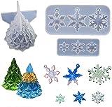 Stampi in resina per albero di Natale Fiocco di neve Collana con ciondolo Creazione di gioielli Stampo colata epossidica in cristallo per decorazioni natalizie Ornamento Regalo Confezione fai da te 3