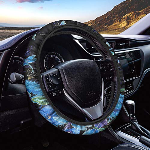 Dreaweet Fluorescent Blue Dragonfly Printed Steering Wheel Covers with Cloth for Women Men Sweat Absorbing Steering Wheel Protection Neoprene Stretch-on Fabric Comfy Grip Anti-Slip