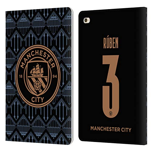 Head Case Designs Officially Licensed Manchester City Man City FC Rúben Dias 2020/21 Players Away Kit Group 2 Leather Book Wallet Case Cover Compatible with Apple iPad Mini 4