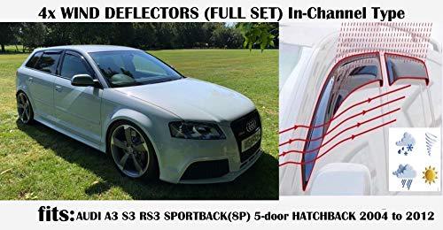 OEMM Windabweiser für Audi A3 S3 RS3 Sportback 5-Türer 2003 2004 2005 2006 2007 2008 2009 2010 2011 2012 2013 Acrylglas Seitenblenden Fensterabweiser