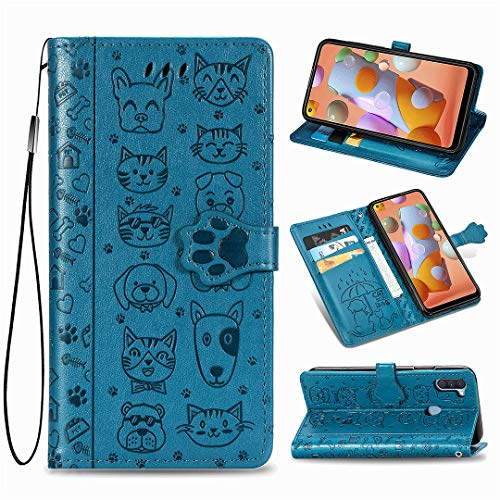 Samsung Galaxy M11 Hülle, SATURCASE Nette Katze & H& PU Lederhülle Magnetverschluss Brieftasche Kartenfächer Standfunktion Handschlaufe Schutzhülle Handy Tasche Hülle für Samsung Galaxy M11 (Blau)